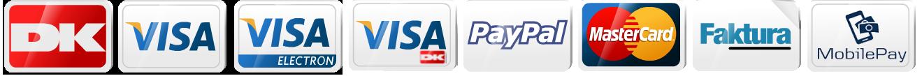 Vi modtager kreditkort